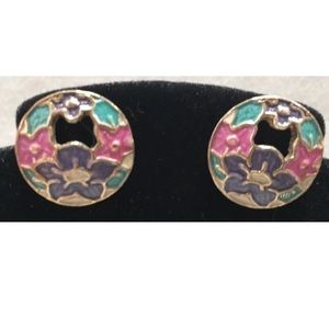 Jewelry - 🔵 Enamel Earrings Gold Tone Floral Pierced Post